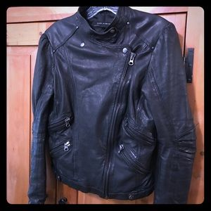 Zara Black Leather Moto Jacket